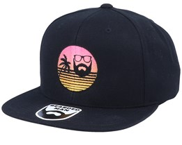 Paradise Sunset Black Snapback - Bearded Man