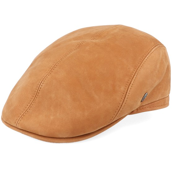 Keps M22 Suede Leather Brown Flat Cap - City Sport - Brun