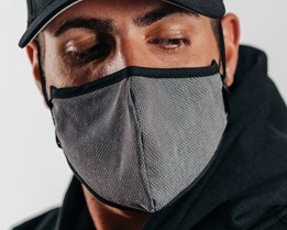 Antimicrobial Black Herringbone Face Mask - Brixton