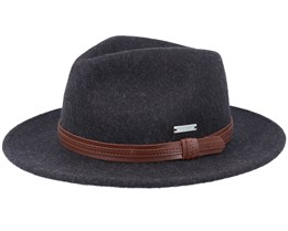 Felt Black/Leather Fedora - Seeberger