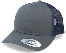 6-Panel Retro Trucker 2-Tone Charcoal/Navy Trucker - Yupoong