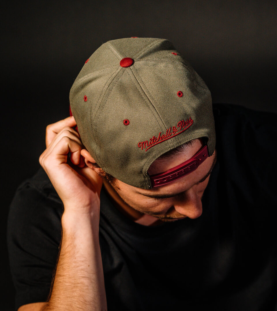 Hatstore Exclusive x Mitchell & Ness Olive/Maroon