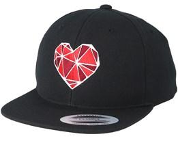 Kids Geometric Heart Black Kids Snapback - Kiddo Cap