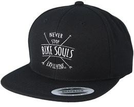 Never Stop Exploring Black Snapback - Bike Souls