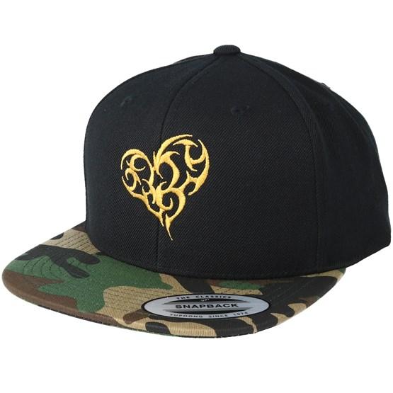 Tribal Heart Gold Black/Camo Snapback