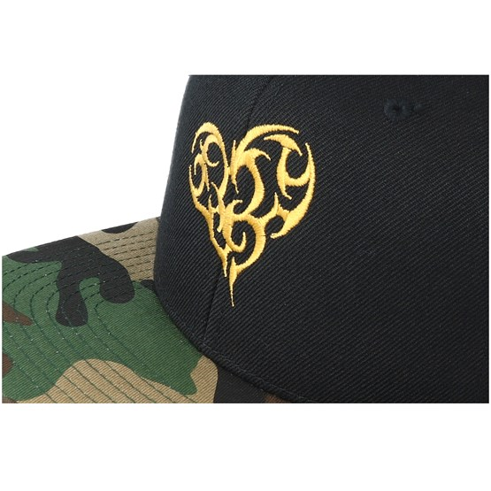 Tribal Heart Gold Black/Camo Snapback