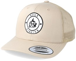 Gone Fishing Logo Khaki Trucker - Hunter