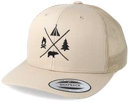 Camping Logo Beige Trucker - Wild Spirit