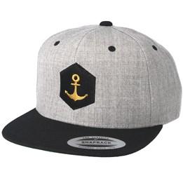 00c5c7f515f Jack Anchor Hexagon Anchor Heather Grey Black Snapback - Jack Anchor ₹  2