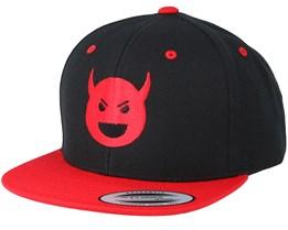 Kids Devil Emoji Black/Red Snapback - Kiddo Cap