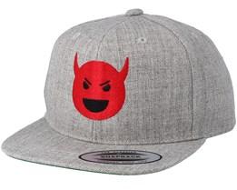 Kids Devil Emoji Grey Snapback - Kiddo Cap