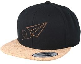 Plane Black/Cork Snapback - Origami