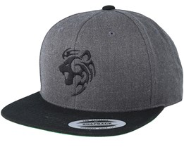 Tribal Lion Charcoal/Black Snapback - Tattoo Collective