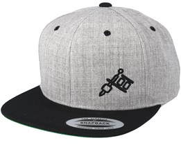 Machine Side Logo Heather Grey/Black Snapback - Tattoo Collective