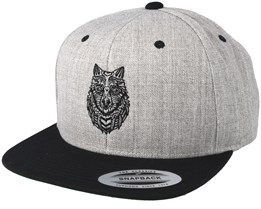 Zentangle Wolf Heather Grey/Black Snapback - Tattoo Collective