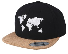 World Map Black/Cork Snapback - Bacpakr