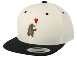 Kids Cute Bear Natural Black Snapback - Kiddo Cap