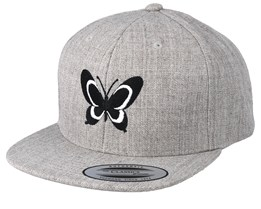 Kids Butterfly Heather Grey Snapback - Kiddo Cap
