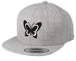 Kids Butterfly Heather Grey Snapback - Kiddo Cap
