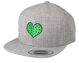 Kids Cactus Heart Heather Grey Snapback - Kiddo Cap