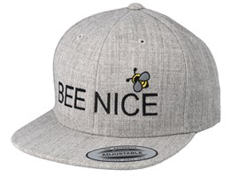 Kids Bee Nice Heather Grey Snapback - Kiddo Cap