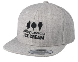 Kids All You Need Is Ice Cream Heather Grey Snapback - Kiddo Cap