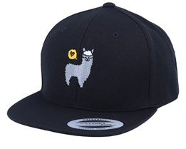 Kids Llama Love Black Snapback - Kiddo Cap