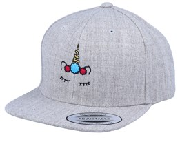 Kids Unicorn Flower Heather Grey Snapback - Unicorns