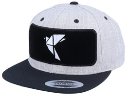 Logo Velvet Patched Heather Grey Black Snapback - Origami