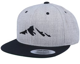 Mountain Silhouette Heather Grey Black Snapback  - Iconic