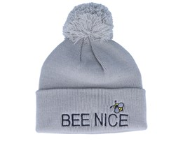 Kids Bee Nice Pom Pom Light Grey Beanie - Kiddo Cap