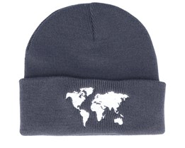 World Map Knitted Graphite Grey Beanie - Bacpakr