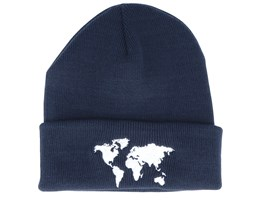 Kids World Map French Navy Beanie - Kiddo Cap