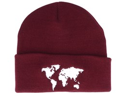 World Map Burgundy Beanie - Bacpakr
