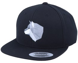 Grey Paper Wolf Black Snapback - Origami