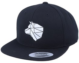 White Paper Wolf Black Snapback - Origami