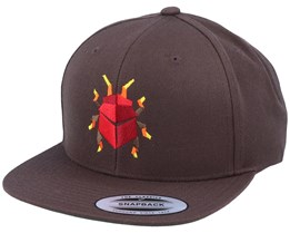 Red Paper Bug Dark Brown Snapback - Origami