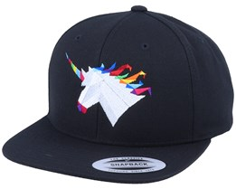 Rainbow Paper Unicorn Black Snapback - Origami