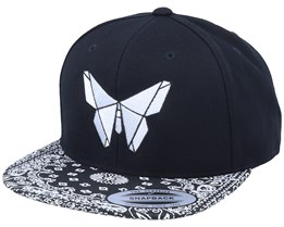 White Paper Butterfly Black Paisley Snapback - Origami
