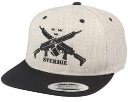 AK5 Sverige Heather Grey Snapback - GUNS n SKULLS