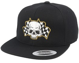 Racing Flags Skull Black Snapback - Born To Ride