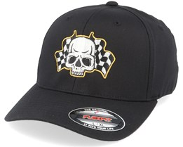 Racing Flags Skull Black Flexfit - Born To Ride
