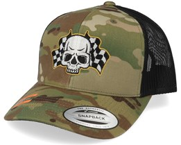 Racing Flags Skull Multicam Trucker - Born To Ride