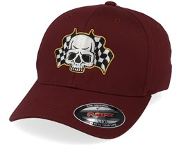 Racing Flags Skull Maroon Flexfit - Born To Ride