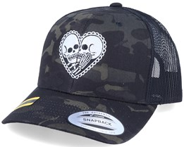 Skeleton Love Black Camo Trucker - Calaveras