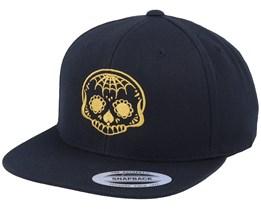 Golden Spade Nose Skull Black Snapback - Calaveras