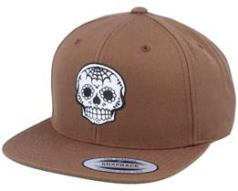Spade Nose Skull Brown Snapback - Calaveras