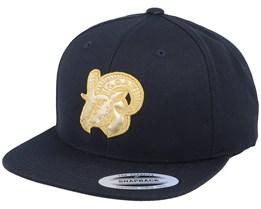 Golden Goat Applique Black Snapback - Iconic