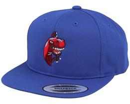 Kids Peeping Dino T-rex Royal Blue Snapback - Kiddo Cap
