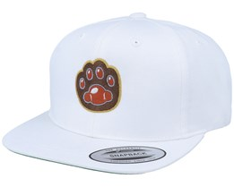 Kids Cat Paw Applique White Snapback - Kiddo Cap